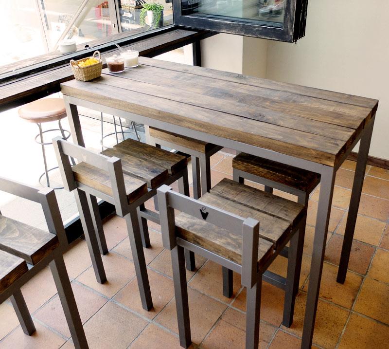 Mostradores y r tulos barcelona muebles a medida for Mesas de madera bar